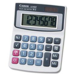 Canon LS82Z Minidesk Calculator, Battery/Solar Powered, 8 Digit LCD Display