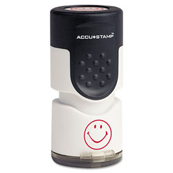 "Consolidated Stamp Accustamp Pre-Inked Round Stamp with Microban, Smiley, 5/8"" dia., Red"