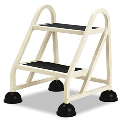 "Cramer Industries Two Step ""Stop Step"" Aluminum Ladder, 21 1/4"" W x 20 1/4"" D x 22 7/8"" H, Beige"