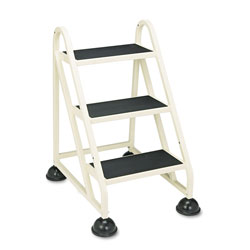"Cramer Industries Three Step ""Stop Step"" Aluminum Ladder, 27 3/8"" W x 27 1/4"" D x 31 3/4"" H, Beige"