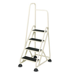 "Cramer Industries Four Step ""Stop Step"" Aluminum Ladder with Handrail, 66"" High, Beige"