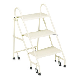 "Cramer Industries Steel Folding 3 Step Ladder with Retracting Casters, 27"" High Top Step, Beige"