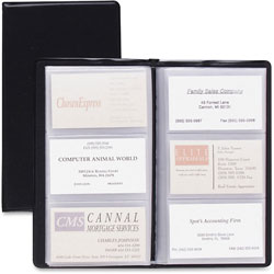 "Cardinal Card Holder, Business, 72 Card Capacity, 7-3/4""x4-3/8"", Vinyl, Black"