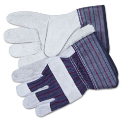 Crews Split Leather Palm Gloves, Gray