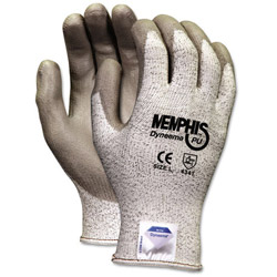 Crews Memphis Dyneema Polyurethane Gloves, Large, White/Gray