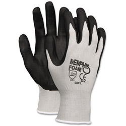 Crews Economy Foam Nitrile Gloves, Gray/White
