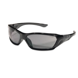 Crews ForceFlex Safety Glasses, Black Frame, Gray Lens