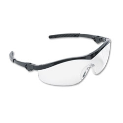 Crews Storm® Safety Glasses with Ratchet Action Temples, Clear Lens, Black Frame