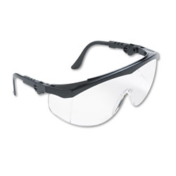 Crews Tomahawk Wraparound Safety Glasses, Clear Lens, Black Frame