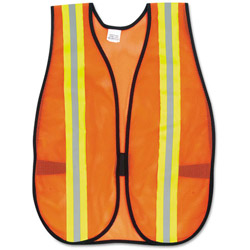 "Crews Orange Safety Vest, 2"" Reflective Strips, Polyester, Side Straps, One Size"