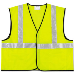 Crews Class 2 Safety Vest, Fluorescent Lime w/Silver Stripe, Polyester, XL
