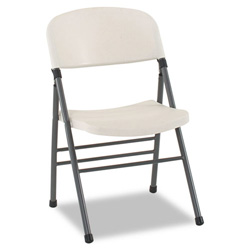 Cosco Endura Molded Folding Chair, Pewter Frame/White Speckle, 4/Carton