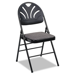 Cosco Fabric Padded Seat/Molded Back Folding Chair, Black Frame/Black