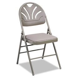 Cosco Fabric Padded Seat/Molded Back Folding Chair, Taupe Frame