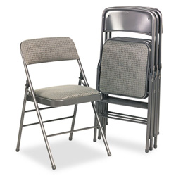 Cosco Fabric Padded Seat/Back Folding Chair, Gray Frame, Cavallaro Gray