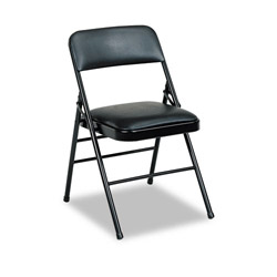 Cosco Deluxe Vinyl Padded Series Folding Chairs, Black Vinyl and Frame, 4/Carton