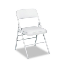 Cosco Deluxe Vinyl Padded Series Folding Chairs, Light Gray Vinyl & Frame, 4/Carton