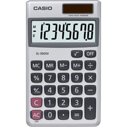 "Casio SL-300SV Handheld Calculator, 8-Digit, 2-3/4""x4-5/8""x9/32"", Silver"