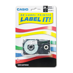 "Casio 1"" Tape Cassette for EZ Label KL8000, KL8100, KL8200, Black on White"