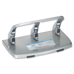Carl 40-Sheet HC-340 Heavy-Duty Three-Hole Punch, 9/32 Diameter Hole, Silver