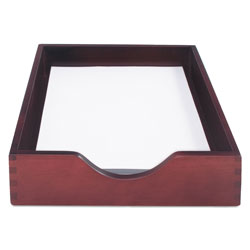 "Carver Wood Products Genuine Oak Stackable Desk Tray, Letter, Stand. Depth, 2 1/4""h, Mahogany Finish"
