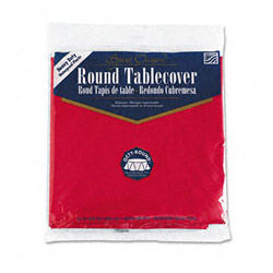 "Creative Converting Round Plastic Tablecovers, 82"" Real Red"