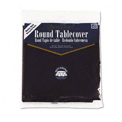 "Creative Converting Round Plastic Tablecovers, 82"" Black"