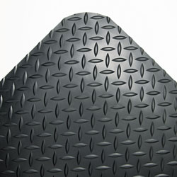 Crown Mats & Matting Deck Plate Vinyl Anti-Fatigue Mat, 36 x 12', Black