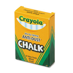Crayola Nontoxic Anti-Dust Chalk, White, 12 Sticks/Box
