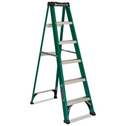 Louisville Ladder #592 Six-Foot Folding Fiberglass Step Ladder, Green/Black