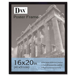 Dax Flat Face Wood Poster Frame, Plexiglas Window, Black Laminate Outer Edge, 16x20
