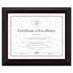 Dax Solid Wood Award/Certificate Frame, Black with Walnut Molding, 8 x 10
