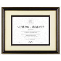 Dax Gold Trimmed Document Frame with Certificate & Mat, Black, 11 x 14
