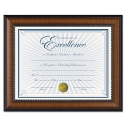 Dax Prestige Document Frame, Walnut/Black, Gold Accents, Certificate, 8 1/2 x 11""