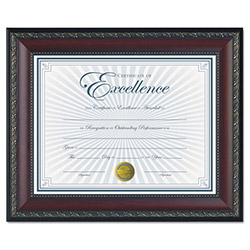 Dax World Class Document Frame w/Certificate, Walnut, 8 1/2 x 11""