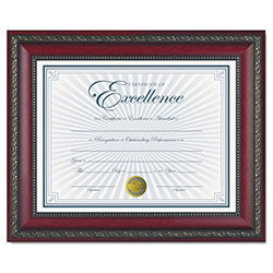 Dax World Class Document Frame w/Certificate, Rosewood, 8 1/2 x 11""