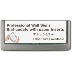 Durable Click Sign Holder For Interior Walls, 6 3/4 x 5/8 x 3, Gray