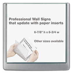 Durable Click Sign Holder For Interior Walls, 6 3/4 x 5/8 x 6 7/8, Gray