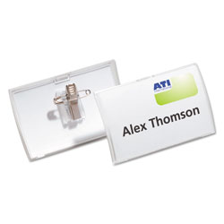 Durable Click-Fold Convex Name Badge Holder, Combi-Clip, 3 3/4w x 2 1/4h, Clear, 25/Pk