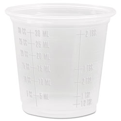 Dart Container Conex Complements Graduated Plastic Portion/Medicine Cups, 1 1/4 oz, Translucent