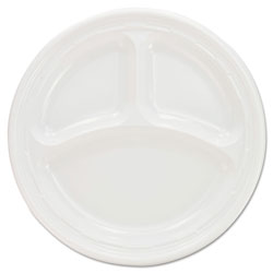 "Dart Disposable 9"" Plastic Plates, 3 Compartment, White, Case of 500"