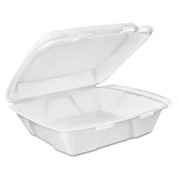 Dart Carryout Food Containers, White, Foam, 7 4/5 x 8 1/2 x 2 1/2