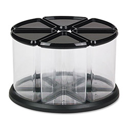 "Deflecto Six Canister Carousel Organizer, 6"" Clear Canisters, Black Lids"