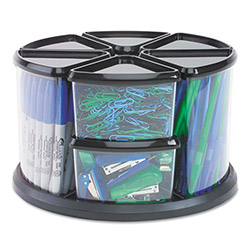 "Deflecto 9 Canister Carousel Organizer, Six 3"" & Three 6"" Clear Canisters, Black Lids"