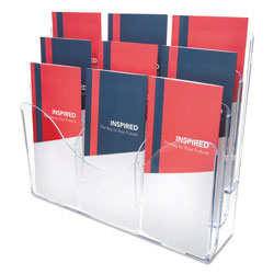 Deflecto Three Tier Docuholder Organizer with 6 Removable Dividers, Clear
