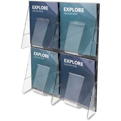 Deflecto Stand Tall 1 Piece Literature Rack for Magazines, 4 Unbreakable Pockets, Clear