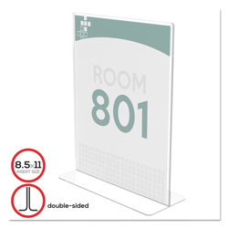 Deflecto Stand Up Double Sided Sign Holder, 8 1/2w x 11h, Clear