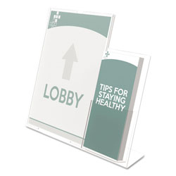 "Deflecto 8 1/2 x 11 Sign Holder with 4"" Wide Side Literature Pocket"