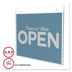 Deflecto Wall Mount Plastic Sign Holder, 11w x 8 1/2h, Clear