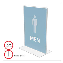Deflecto Stand Up Double Sided Plastic Sign Holder, 5w x 7h, Clear